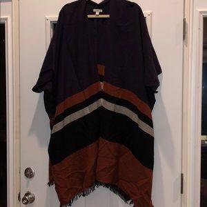 Loft Oversized poncho jacket with fringe